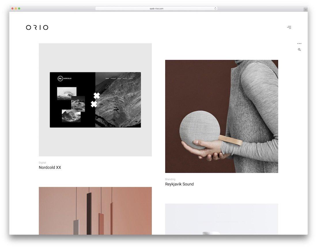 modèle de site web de conception graphique orio