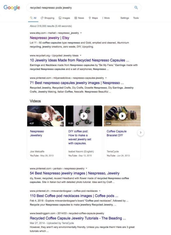 les pages de résultats de recherche pour le terme bijoux en dosettes nespresso recyclées.