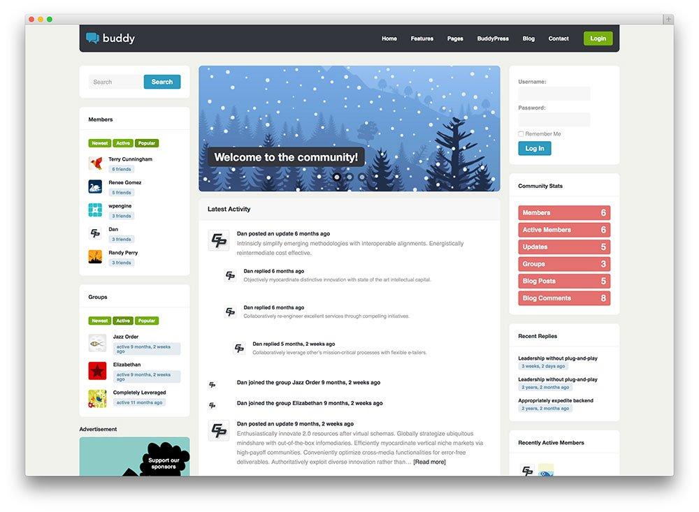 thème WordPress Buddy Buddypress
