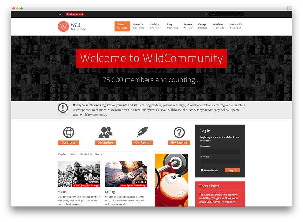 thème WordPress communauté sauvage