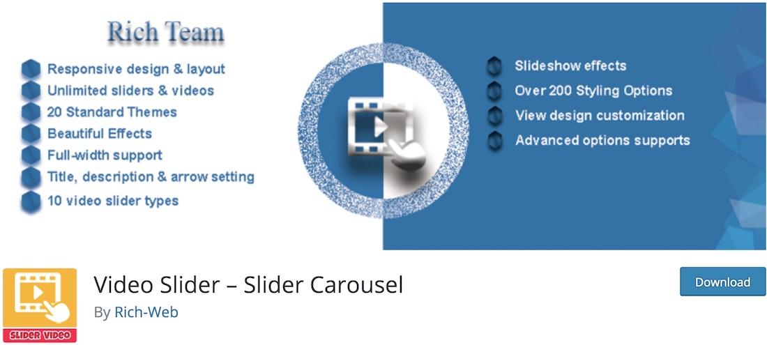 plugin slider vidéo wordpress