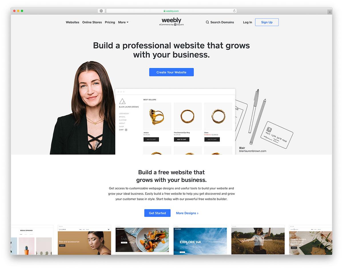 Weebly - Meilleur constructeur de sites Web