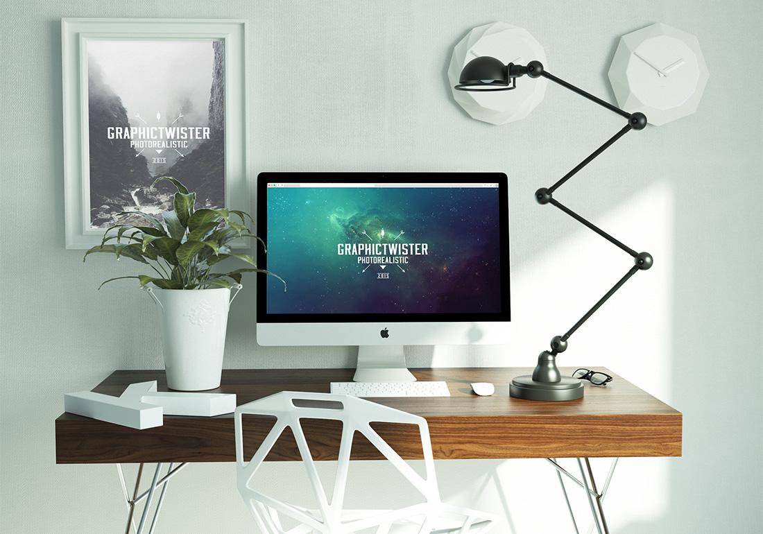 Maquette iMac Modern Workspace Plus gratuite en PSD