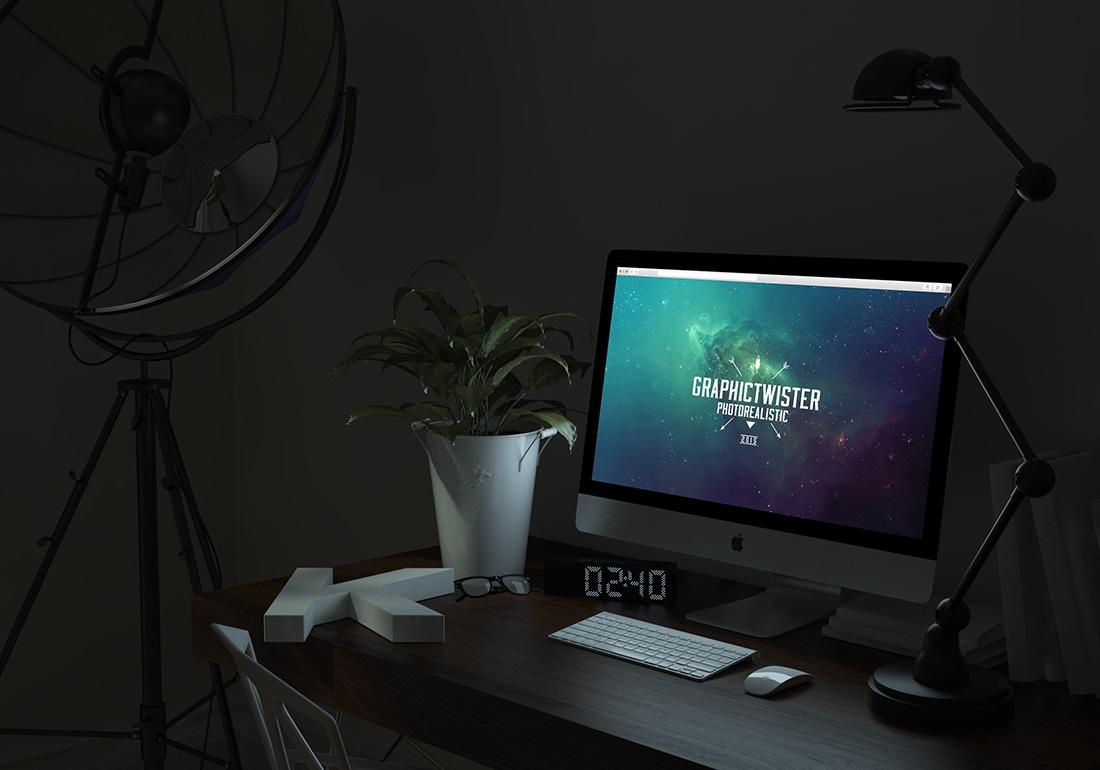 Maquette iMac rougeoyante gratuite PSD