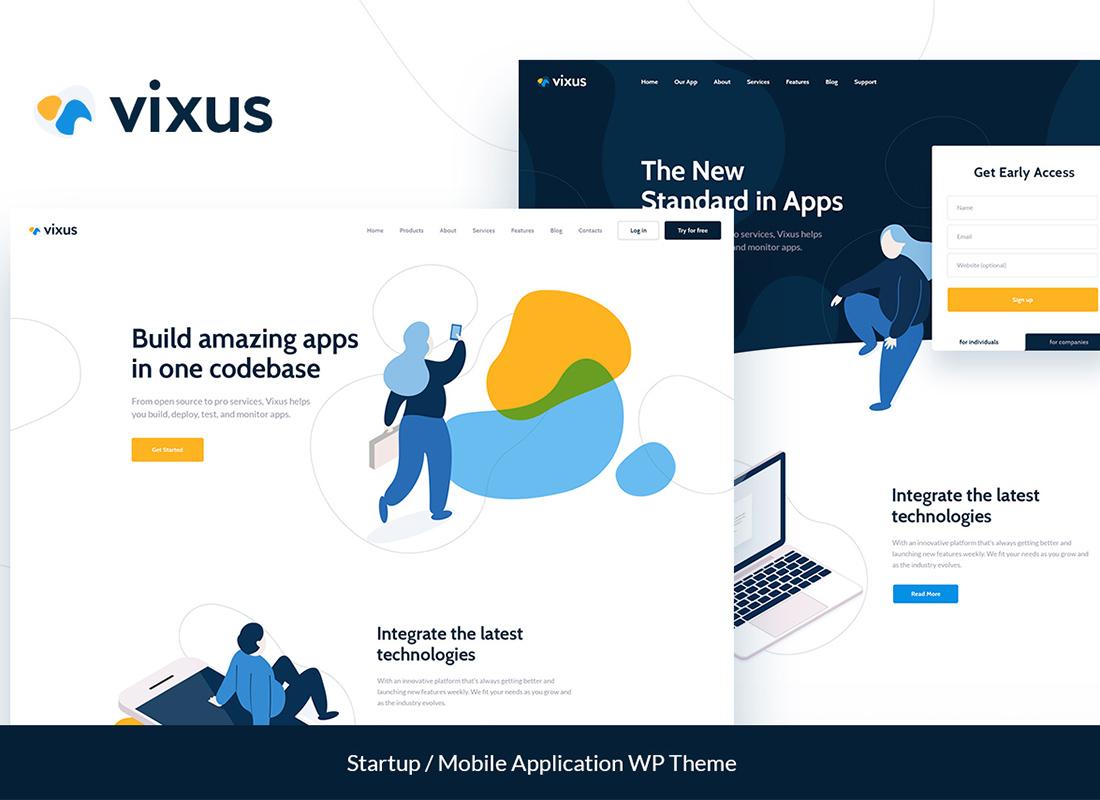 Vixus   Thème de la page de destination WordPress pour application de démarrage et mobile