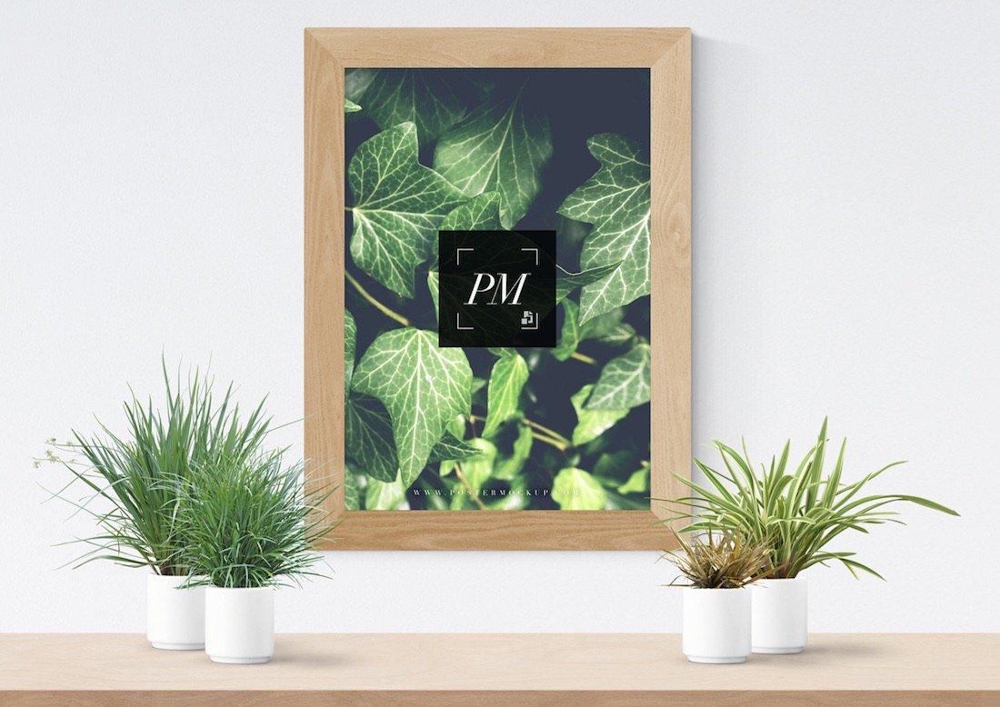 vases à plantes avec maquette d'affiche en bois