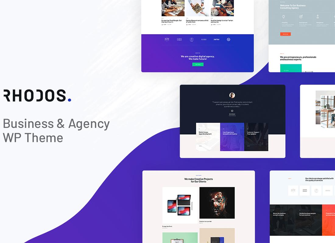 Rhodes - Un thème WordPress polyvalent colossal pour les entreprises et le portefeuille