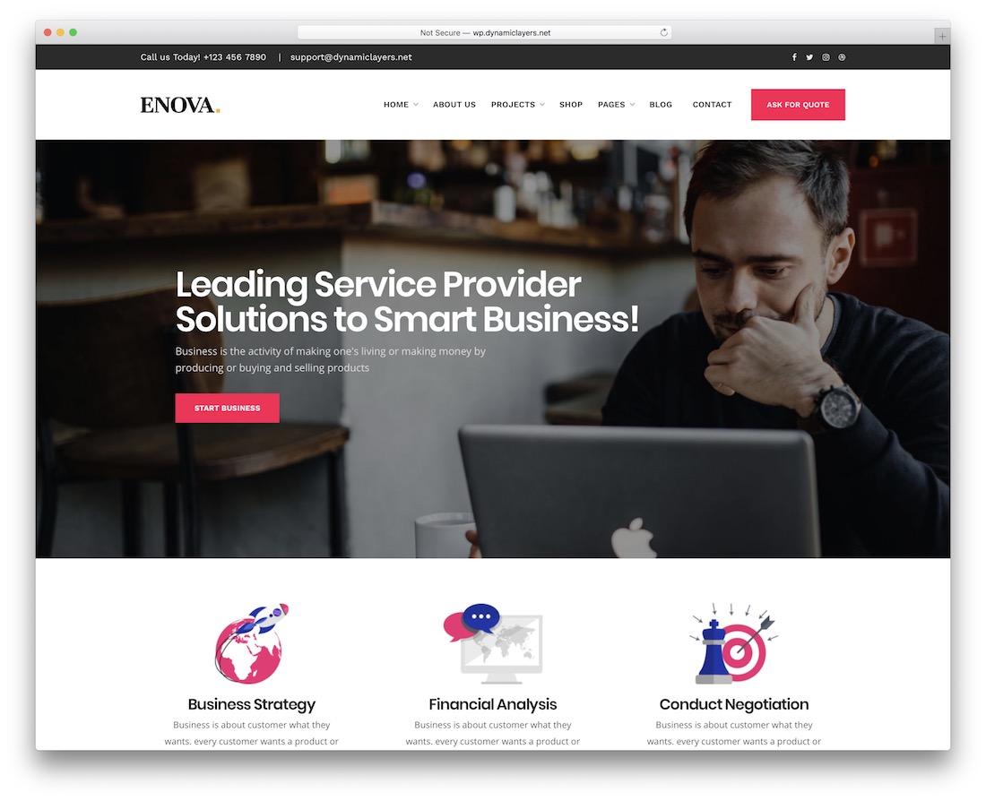 thème wordpress enova pour petites entreprises