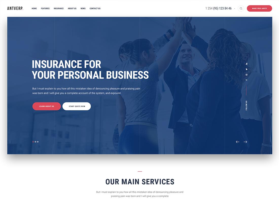 Antverp   Un thème WordPress pour les assurances et les conseils financiers