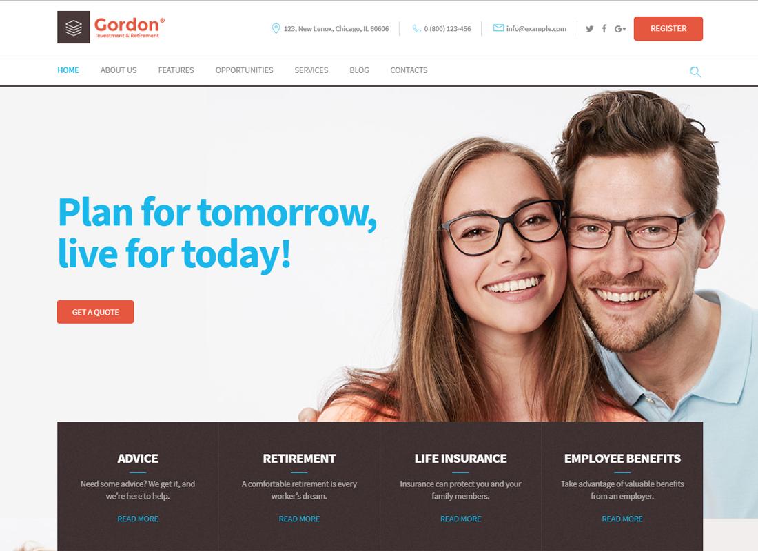 Gordon   Thème WordPress pour société d'investissement et d'assurance