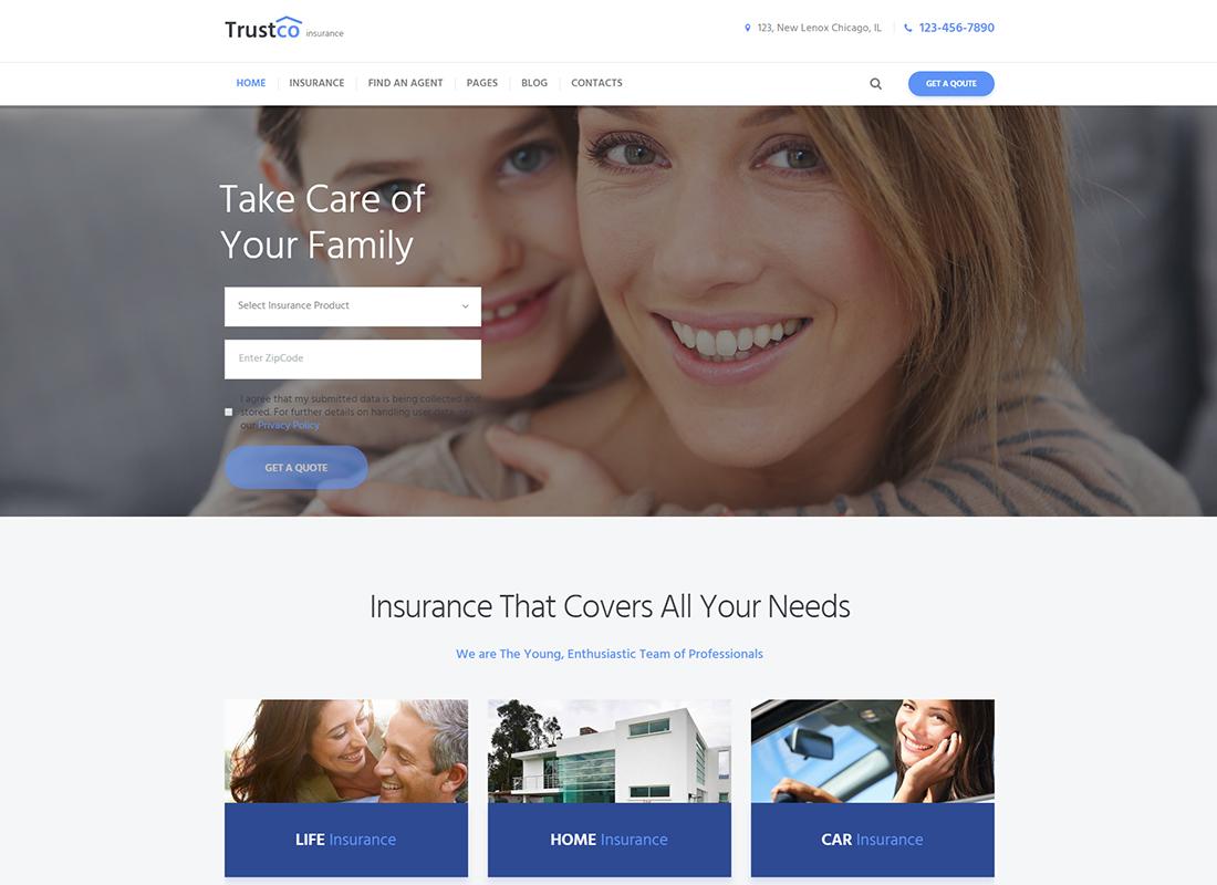 Agence d'assurance et thème WordPress pour les entreprises