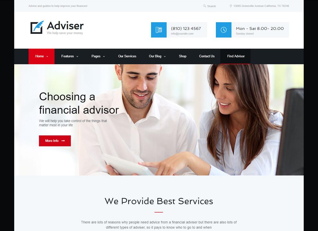 Conseiller   Un thème WordPress moderne pour la finance et la comptabilité