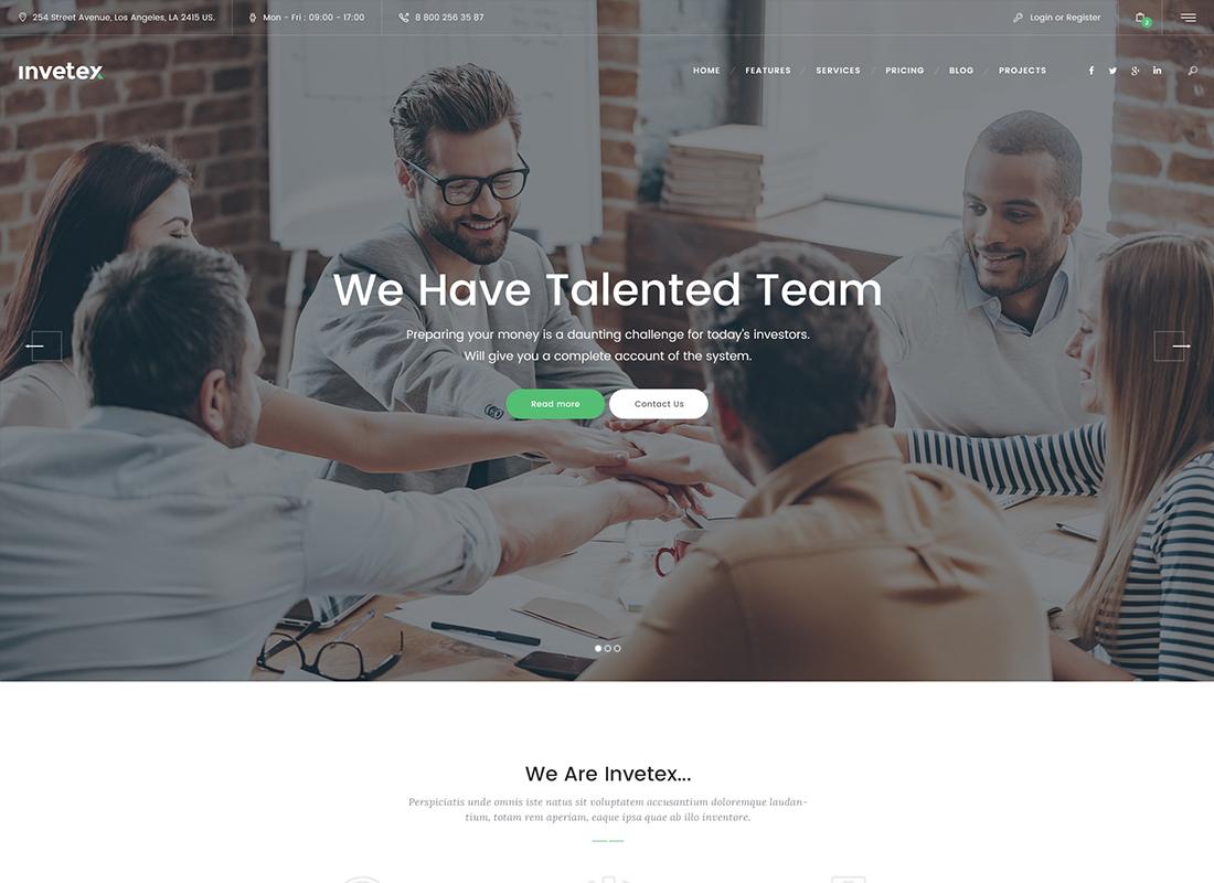 Invetex   Thème WordPress + Conseil et investissements pour les entreprises
