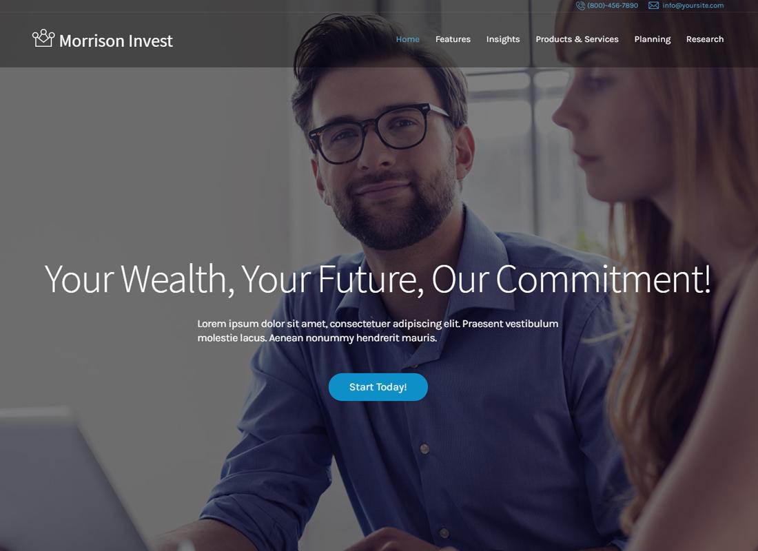 Thème WordPress pour les conseillers en investissement, les affaires et les finances