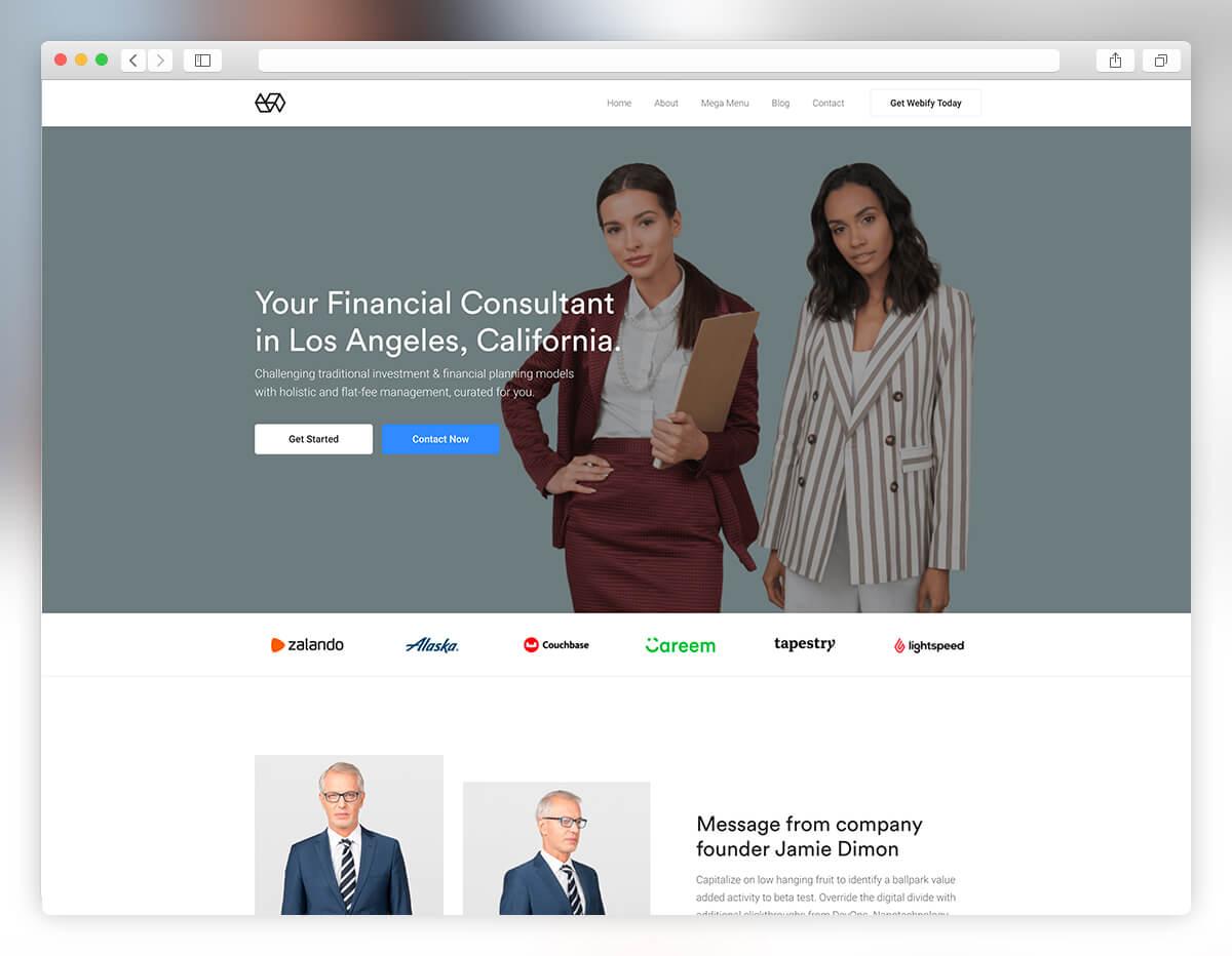 Thème WordPress pour petites entreprises de Webify