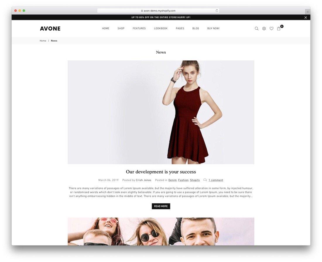 thème du blog avone shopify