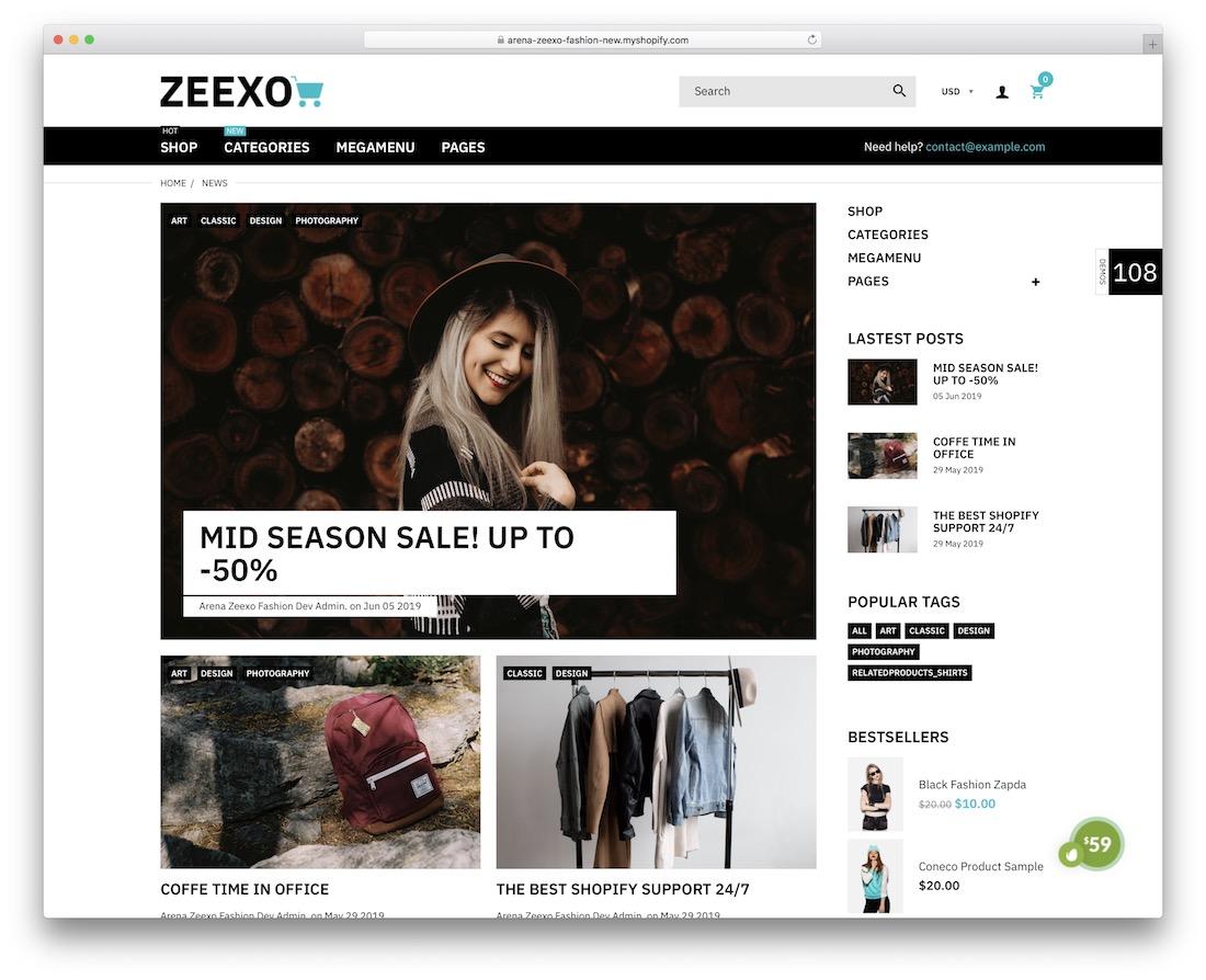 thème du blog zeexo shopify