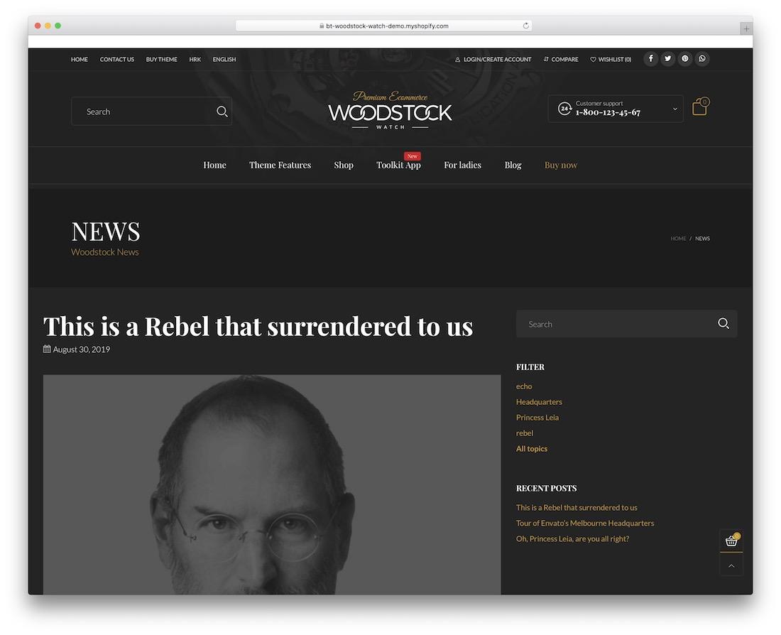 thème du blog woodstock shopify