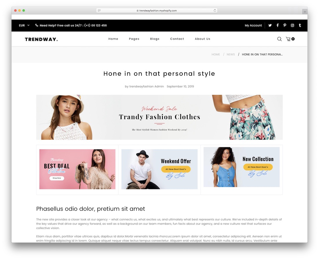 thème du blog Trendway Shopify