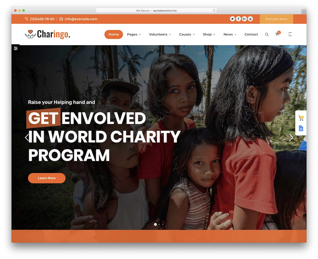 thème wordpress de crowdfunding charingo
