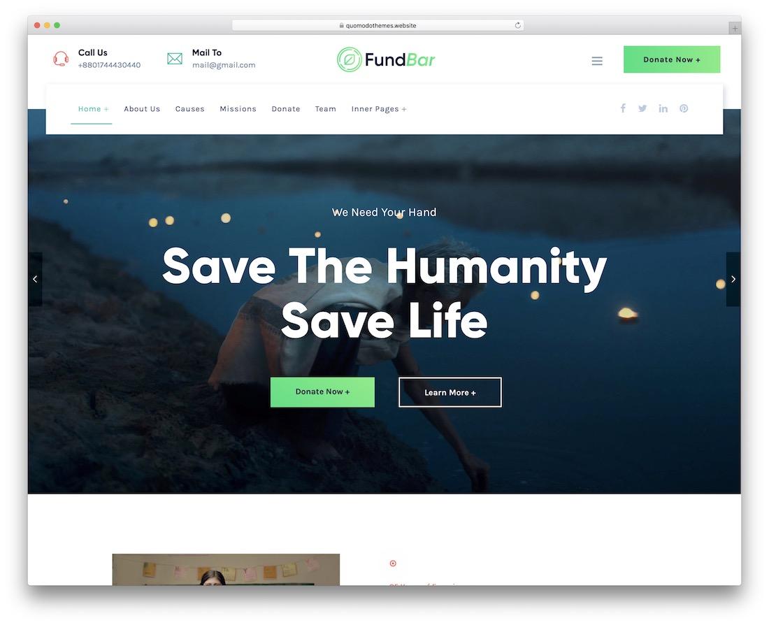 thème wordpress de financement participatif de la barre de fonds