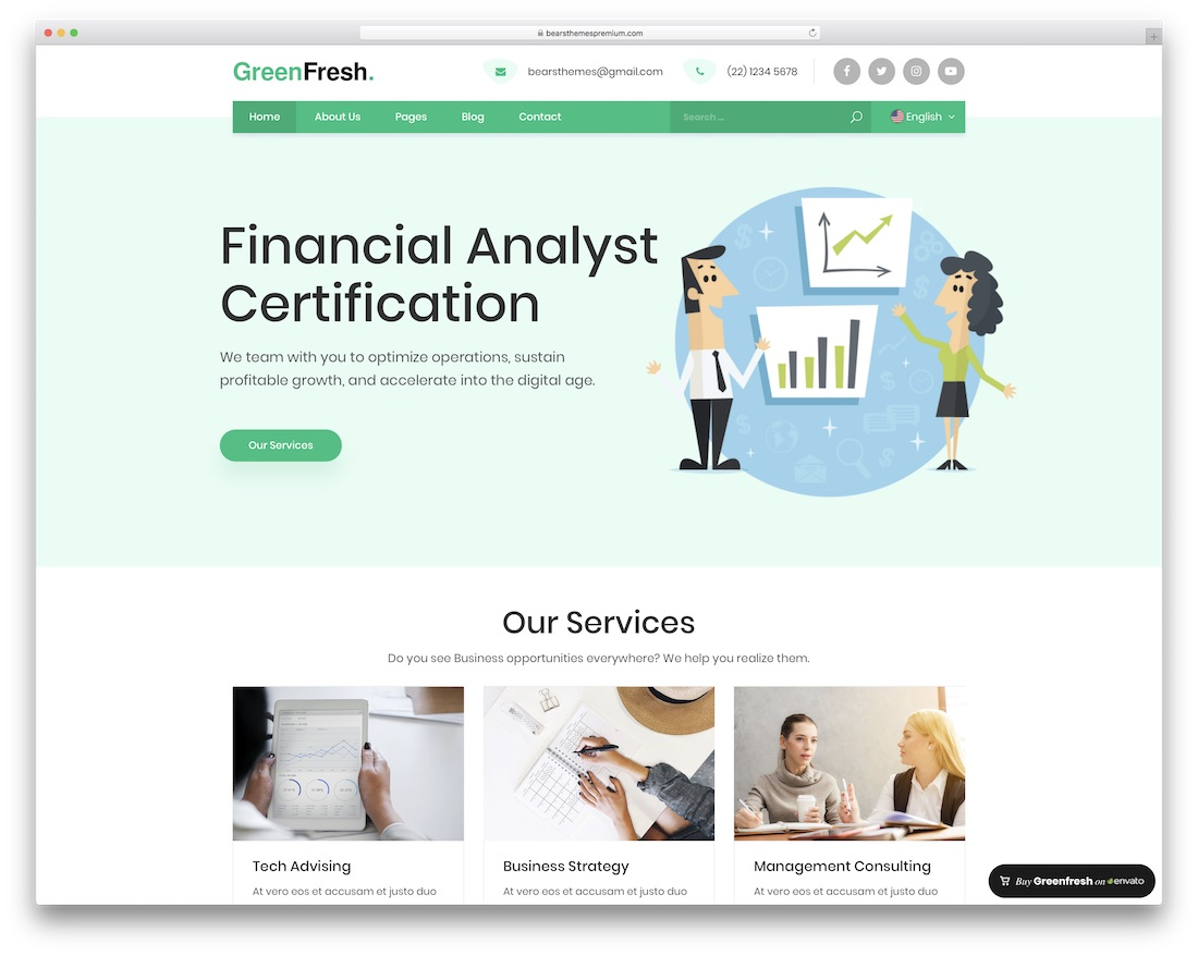 thème wordpress de la société financière greenfresh