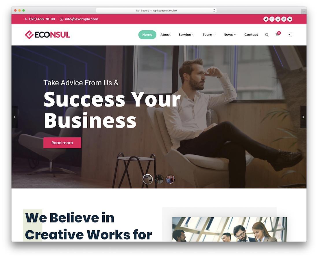 thème wordpress econsul société financière