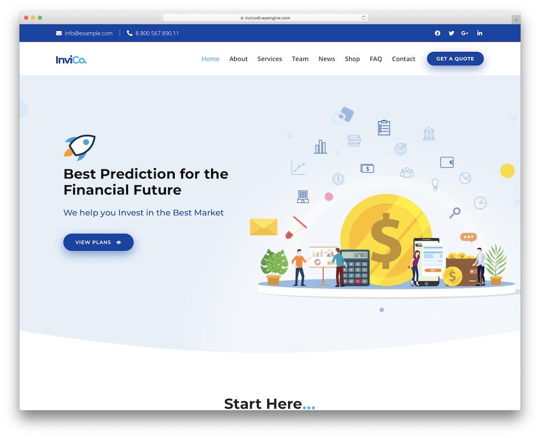 thème wordpress invico société financière