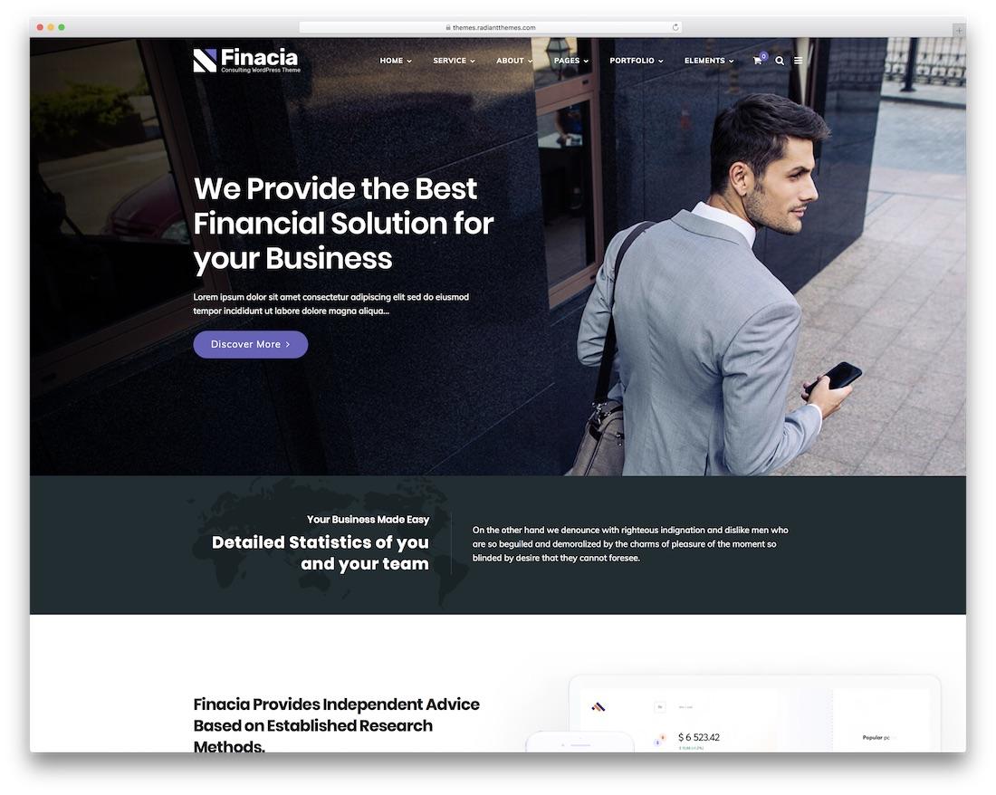 Thème WordPress pour la société financière finacia
