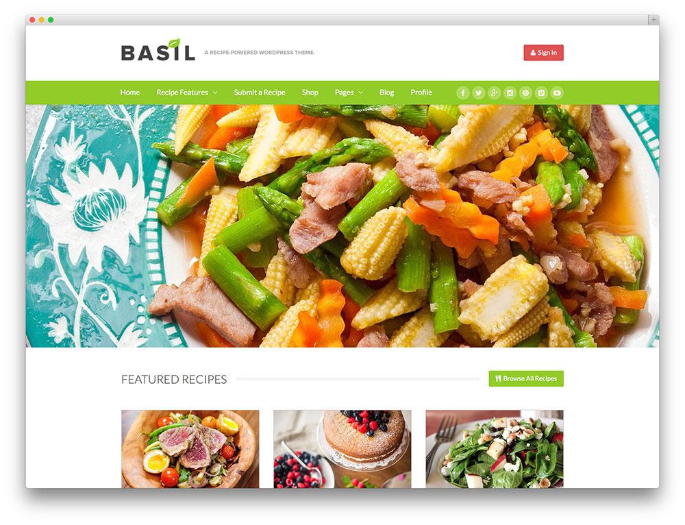 basilic - thème de partage de recettes wordpress