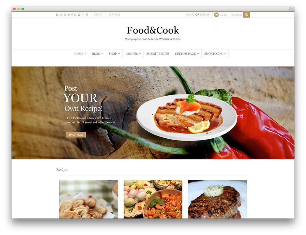 thème de partage de recettes de cuisine et de cuisine
