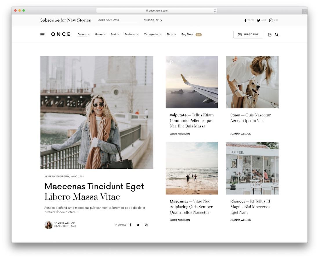 une fois le contenu partagé thème WordPress