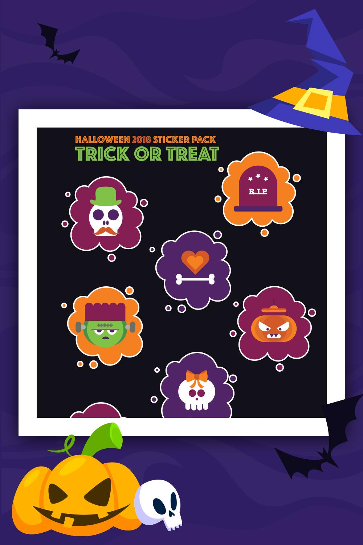Pack d'autocollants d'Halloween: Trick or Treat Illustration