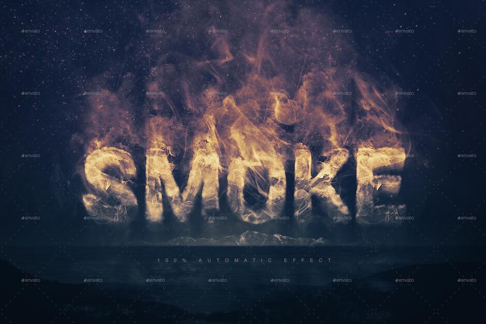 effet de texte logo fumée
