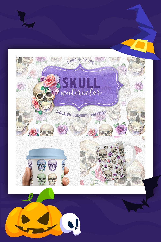Cool Skull Print PNG aquarelle Creative Set Illustration