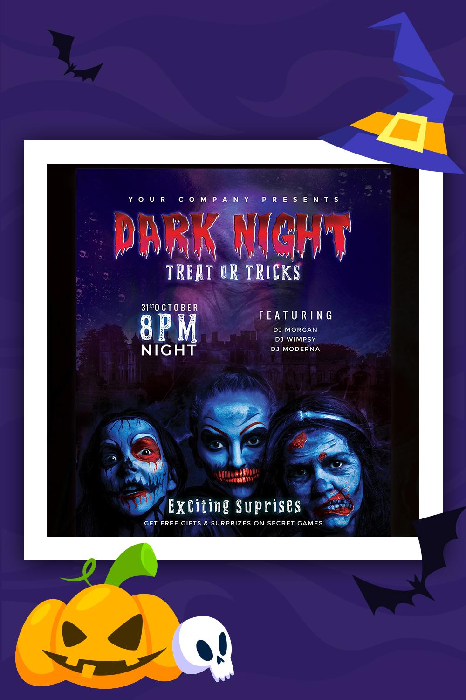 Dark Night - Halloween Party Flyer Design Corporate Identity Template