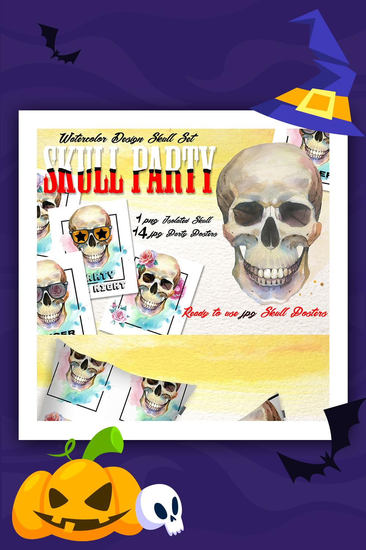 Crâne Party Print PNG aquarelle Set Illustration
