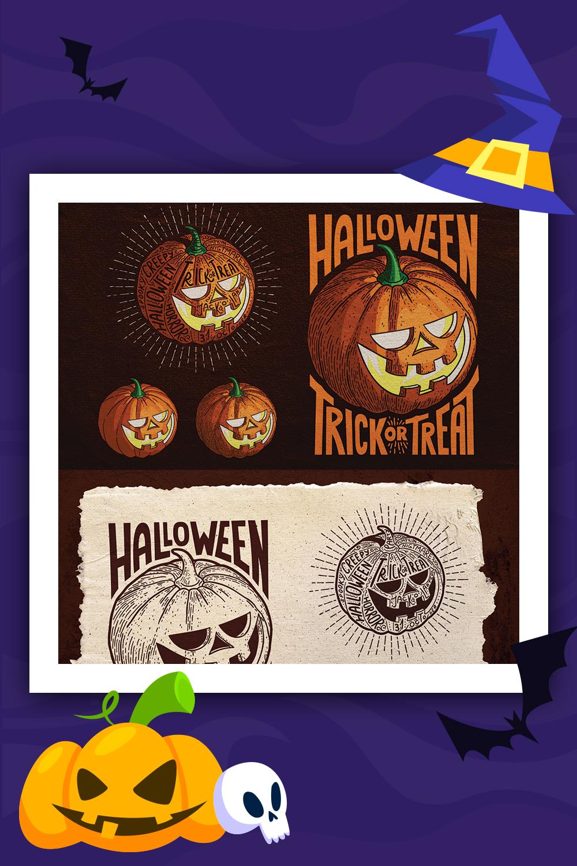 Illustration de style de gravure de citrouille d'Halloween
