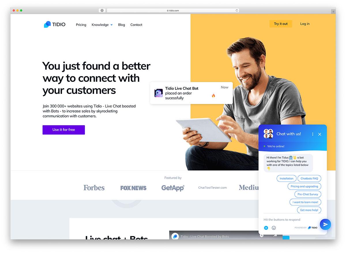Tidio - Plugin de chat WordPress le plus populaire