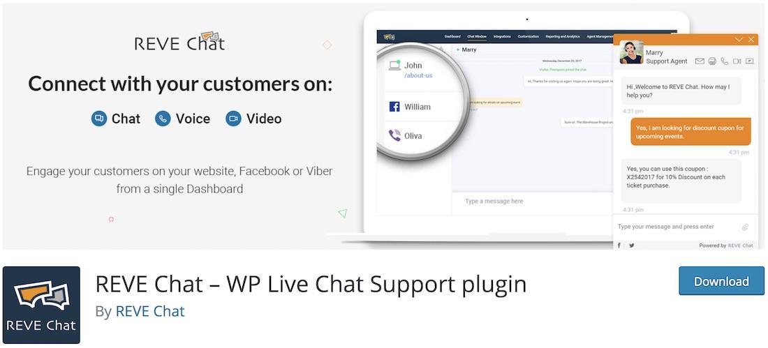 reve chat plugin de chat en direct wordpress