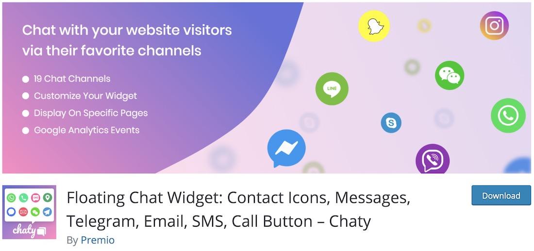 plugin de chat en direct chaty wordpress