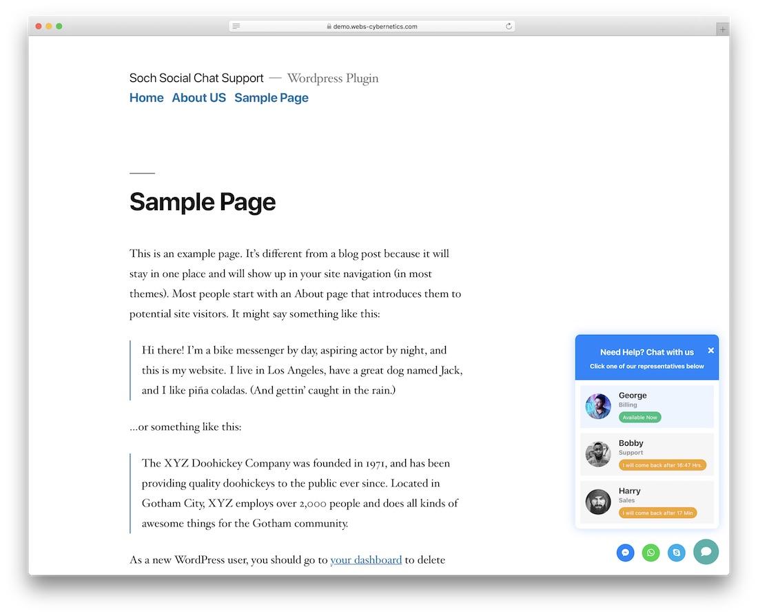 plugin de chat en direct de wordpress soch