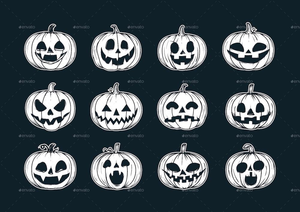 citrouilles d'halloween dessinées à la main