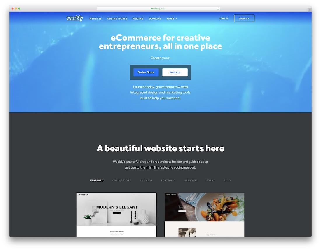weebly meilleur constructeur de sites Web pour artistes