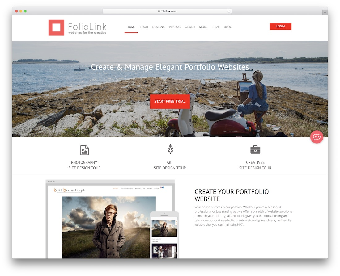 constructeur de sites Web foliolink pour artistes