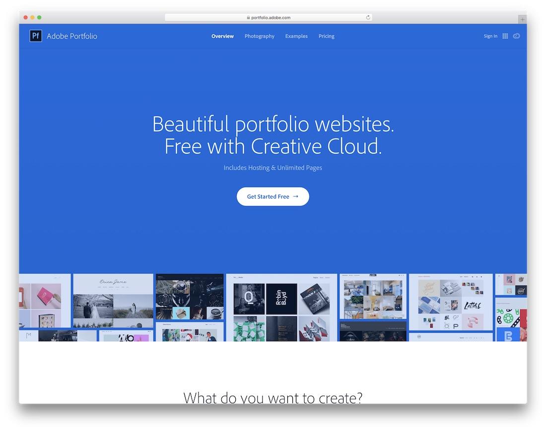 constructeur de site web adobe portfolio pour artistes