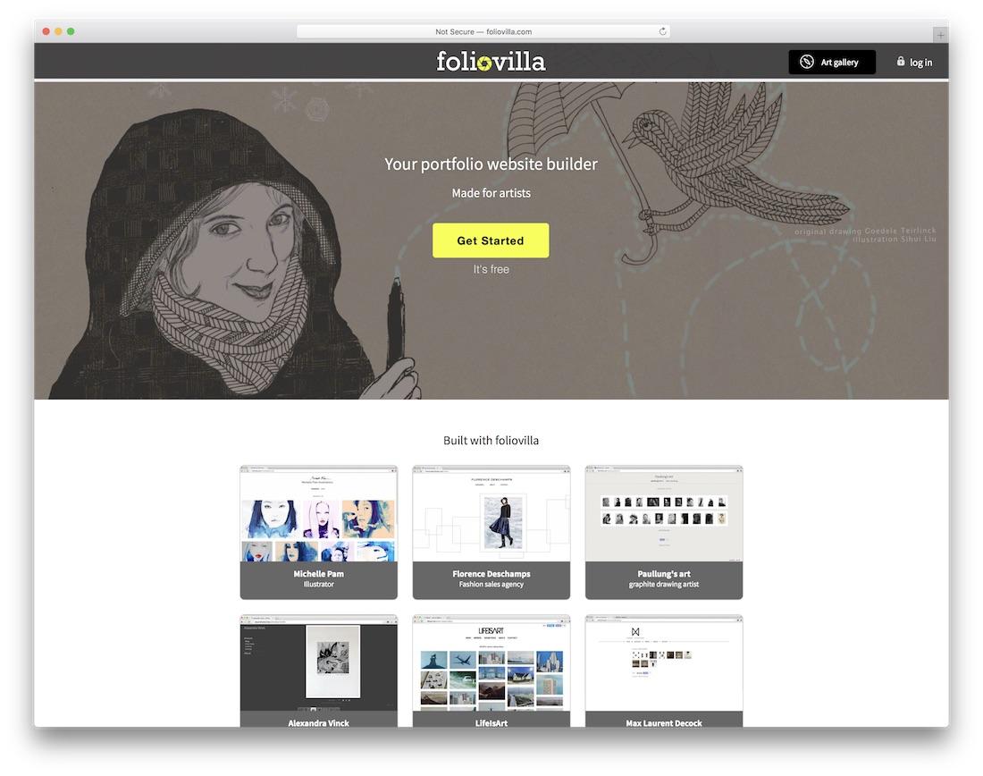 constructeur de site web foliovilla pour artistes