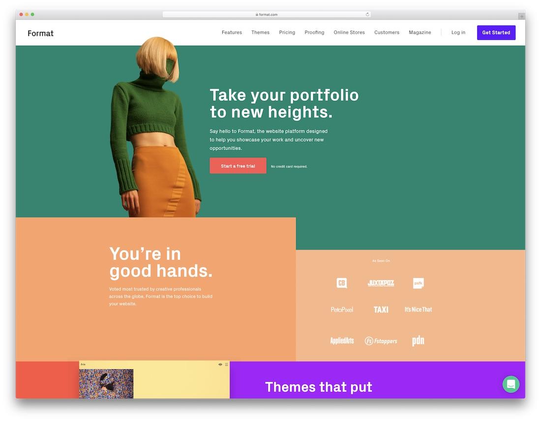 format meilleur constructeur de site Web pour les artistes