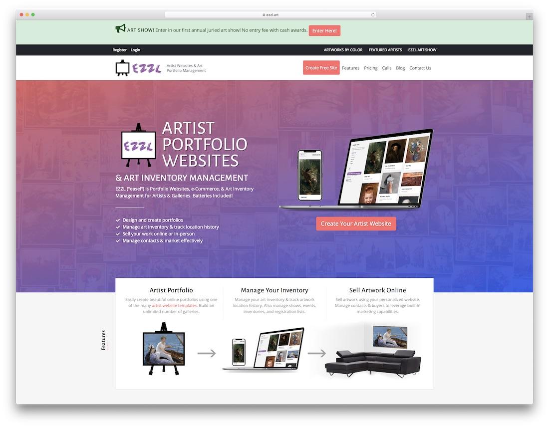 ezzl meilleur constructeur de sites Web pour artistes