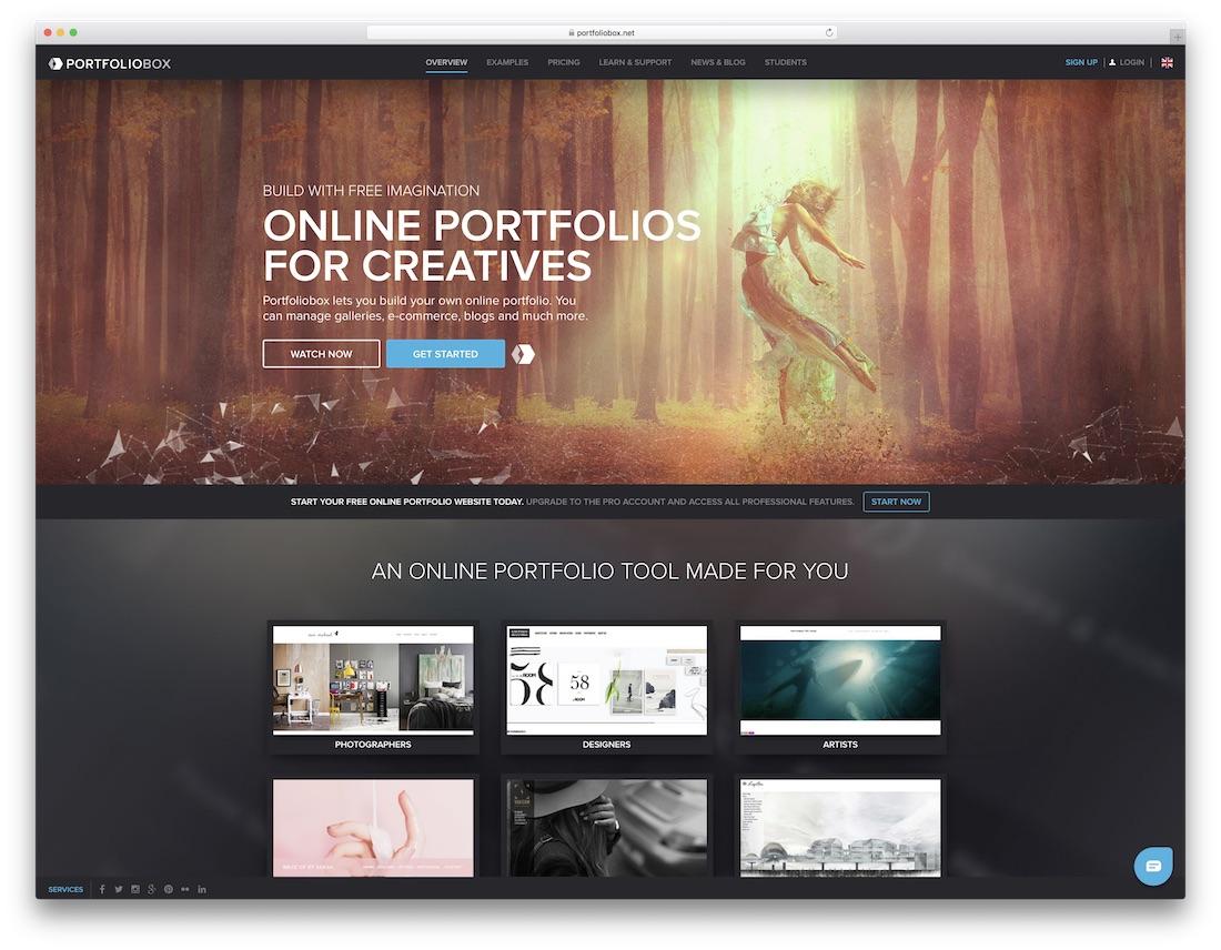 portfoliobox meilleur constructeur de sites Web pour les artistes